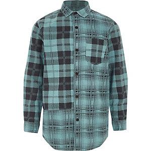Blauw geruit overhemd met lange mouwen voor jongens