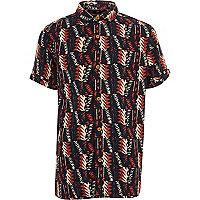 Boys black tribal print short sleeve shirt
