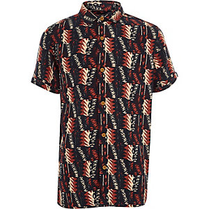 Boys black tribal print short sleeve shirt