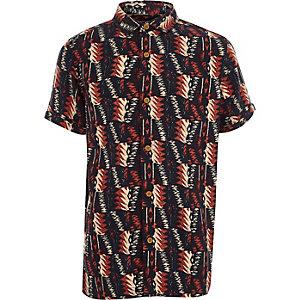 Zwart overhemd met korte mouwen en etnische print voor jongens