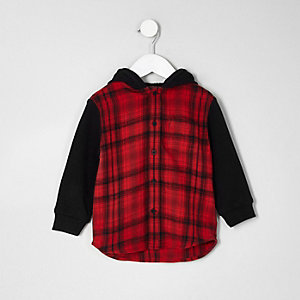 Mini boys red check hooded shirt