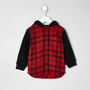 Mini boys red check hooded shirt