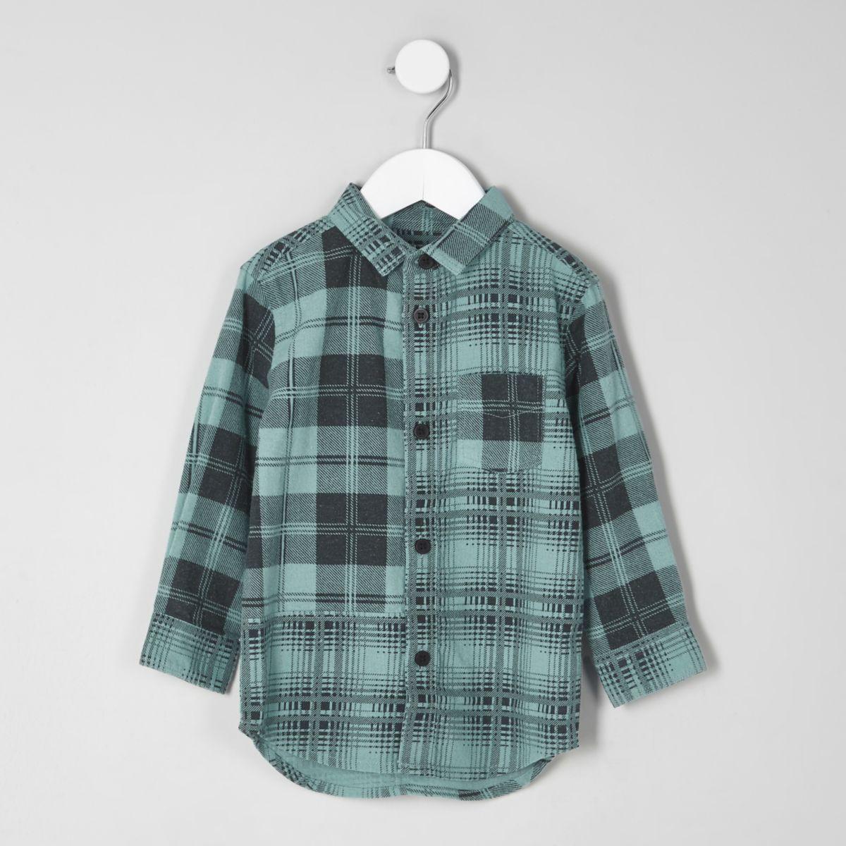 Mini boys teal blue mixed check shirt
