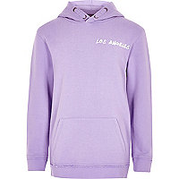 Boys purple 'Los Angeles' print hoodie