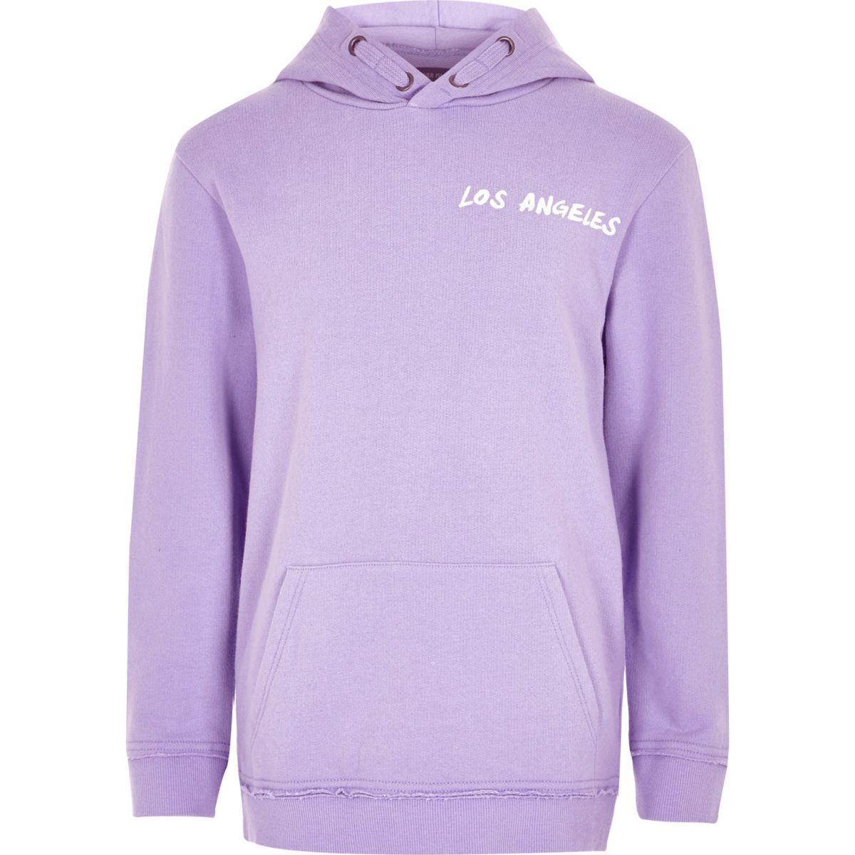 Boys purple 'Los Angeles' print hoodie