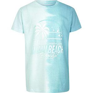 Boys turquoise Malibu print dip dye T-shirt