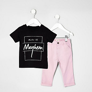 Mini boys 'mayhem' print T-shirt outfit