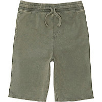 Boys green washed jersey shorts