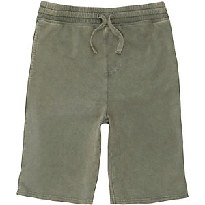 Groene washed jersey short voor jongens