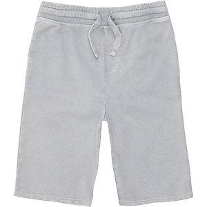 Grijze washed jersey short voor jongens