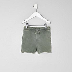 Mini - Kakigroene washed jersey short voor jongens