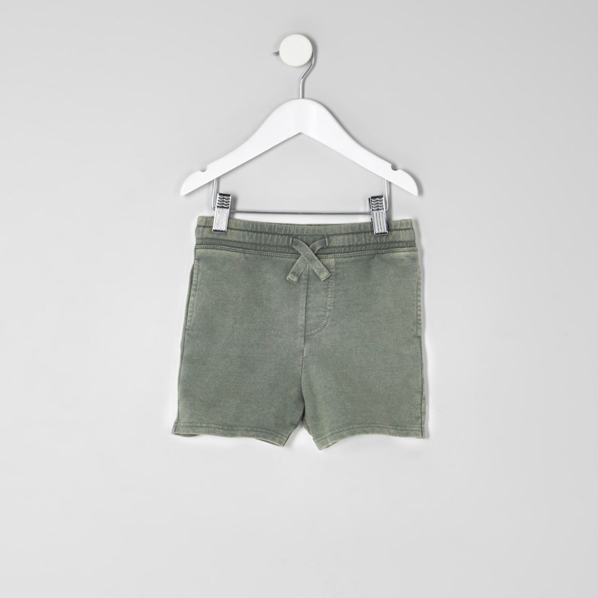 Mini boys khaki green washed jersey shorts