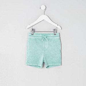 Mini - Lichtgroene washed jersey short voor jongens