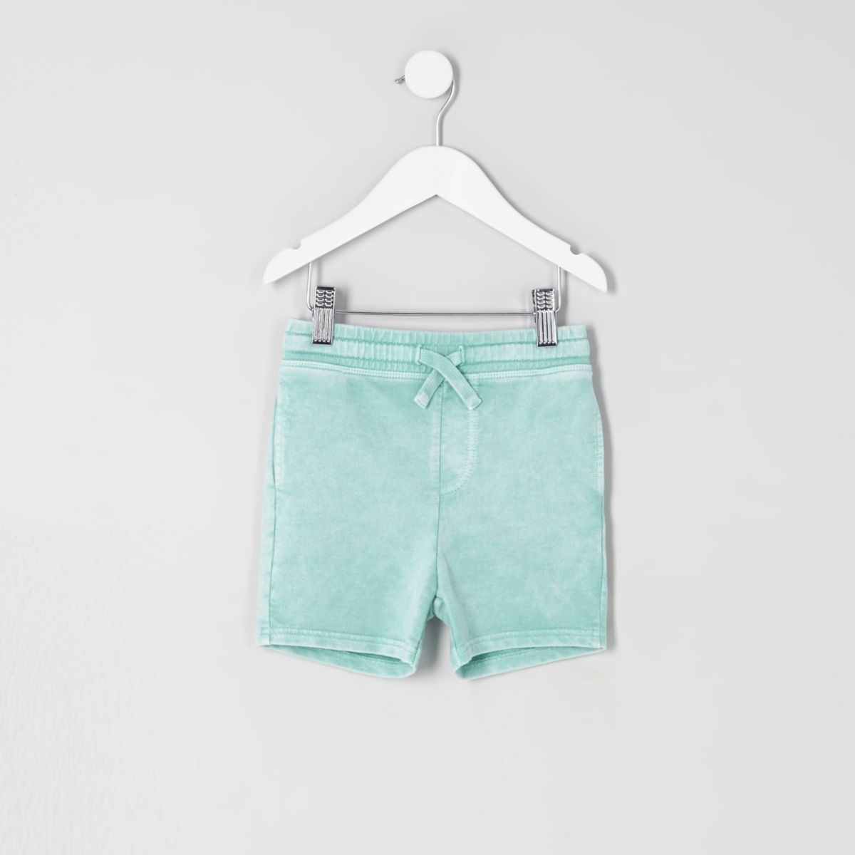 Mini boys light green washed jersey shorts