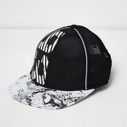 Mini boys black '93' print mesh cap