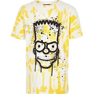 Geel tie-dye T-shirt met Bart Simpson-print voor jongens