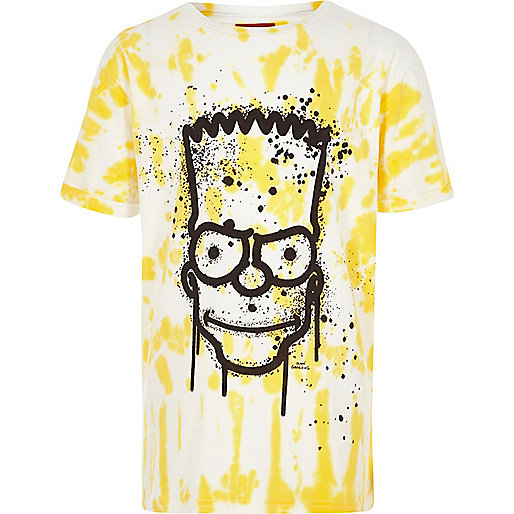 Boys yellow Bart Simpson tie dye T-shirt
