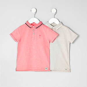 Polo-Shirts in Koralle und Steingrau, Multipack