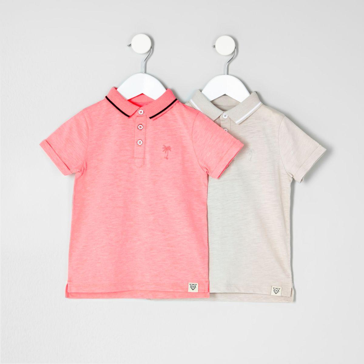 Mini boys coral and stone polo multipack