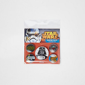 Boys black Star Wars badge set