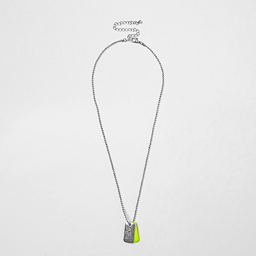 Boys silver tone neon dog tag necklace