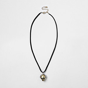 Boys black headphone skull necklace