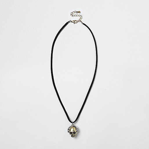 Boys black headphone skull necklace