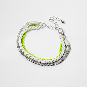 Boys silver tone neon multi bracelet