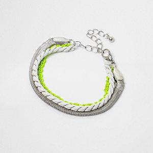 Bracelet argenté et multicolore fluo pour garçon