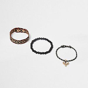 Lot de bracelets noirs tressés motif phœnix pour garçon