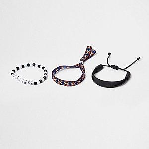 Lot de bracelets noirs avec perles «Attitude» pour garçon