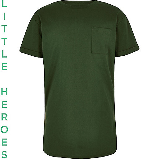 Boys forest green curved hem T-shirt