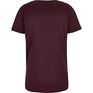 Boys plum purple curved hem T-shirt