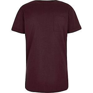 Boys plum purple curved hem T-shirt