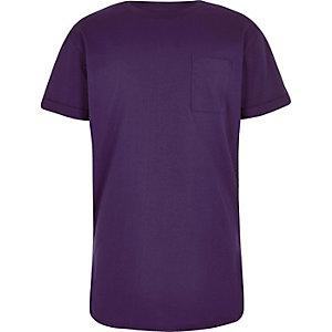 Paars T-shirt met ronde zoom voor jongens