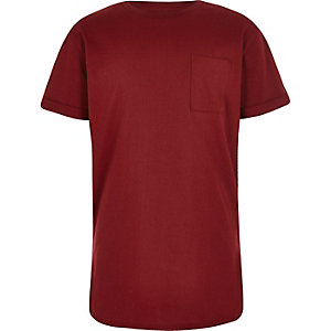 Boys burgundy red curved hem T-shirt