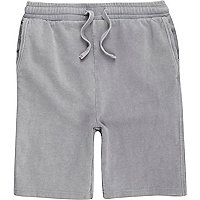 Boys grey washed jersey shorts