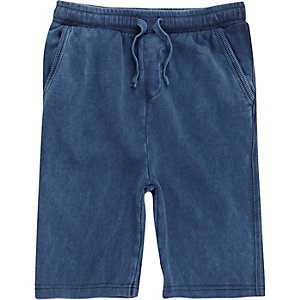 Boys blue washed jersey shorts