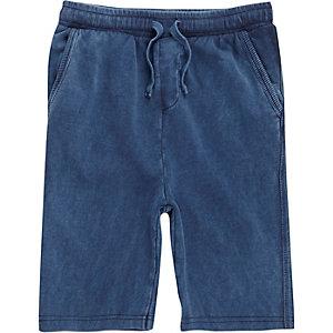 Blauwe washed jersey short voor jongens