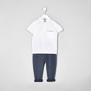 Mini boys white tipped polo shirt outfit