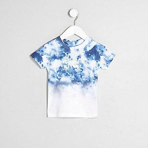 Mini - Wit tie dye T-shirt met print en kleurverloop voor jongens