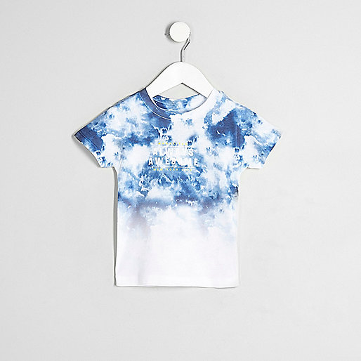 Mini boys white tie dye fade print T-shirt
