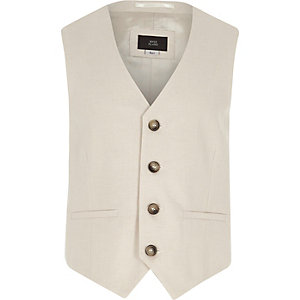Boys cream suit waistcoat with linen