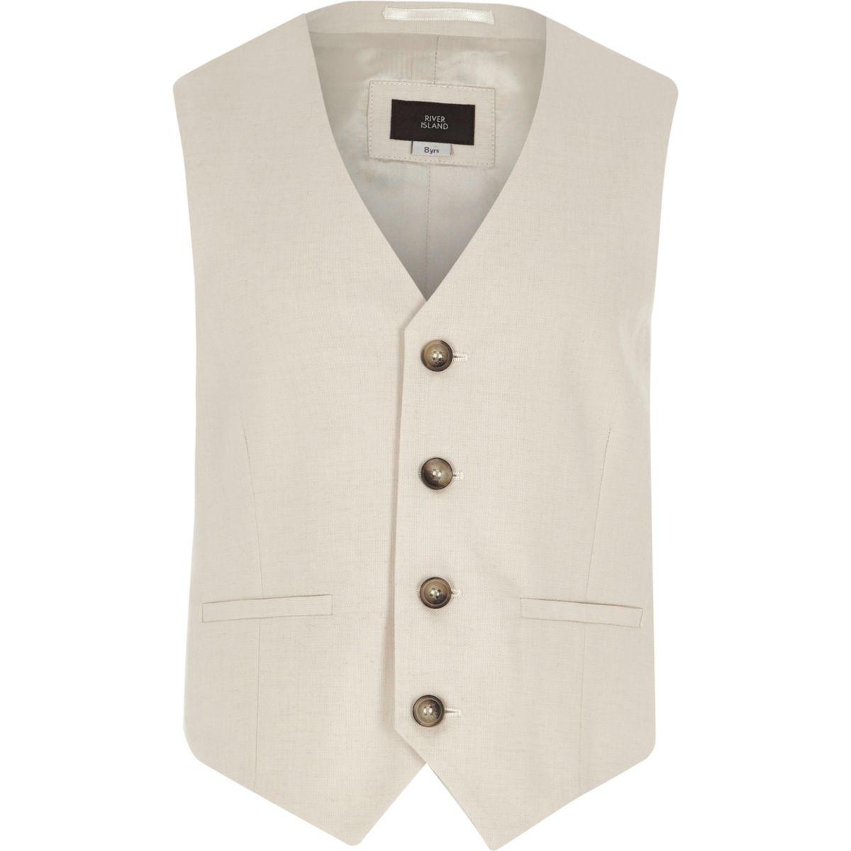 Boys cream suit waistcoat with linen