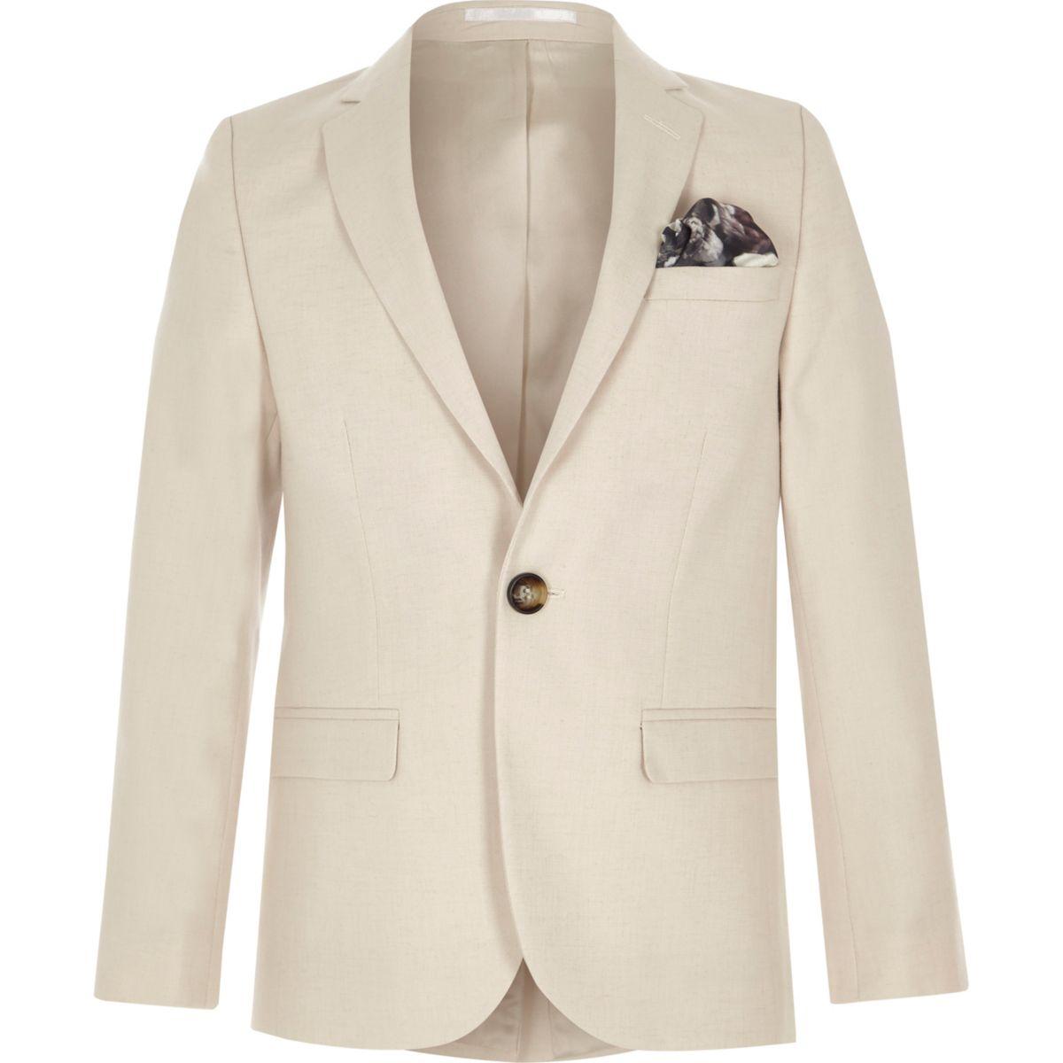 Veste de costume crème avec lin pour garçon