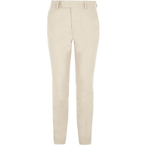Boys cream suit trousers with linen