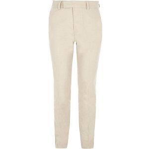 Crème pantalon met linnen voor jongens
