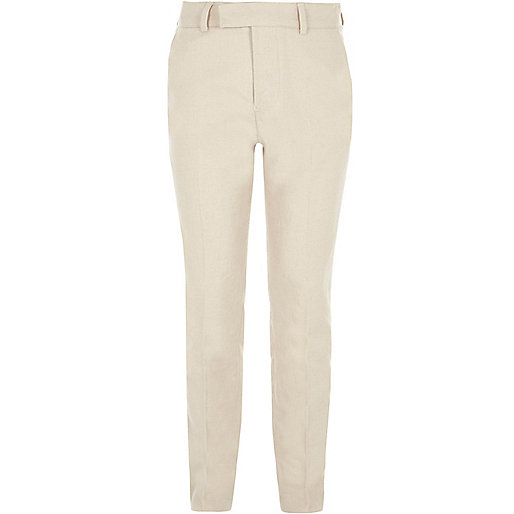 Boys cream suit pants with linen