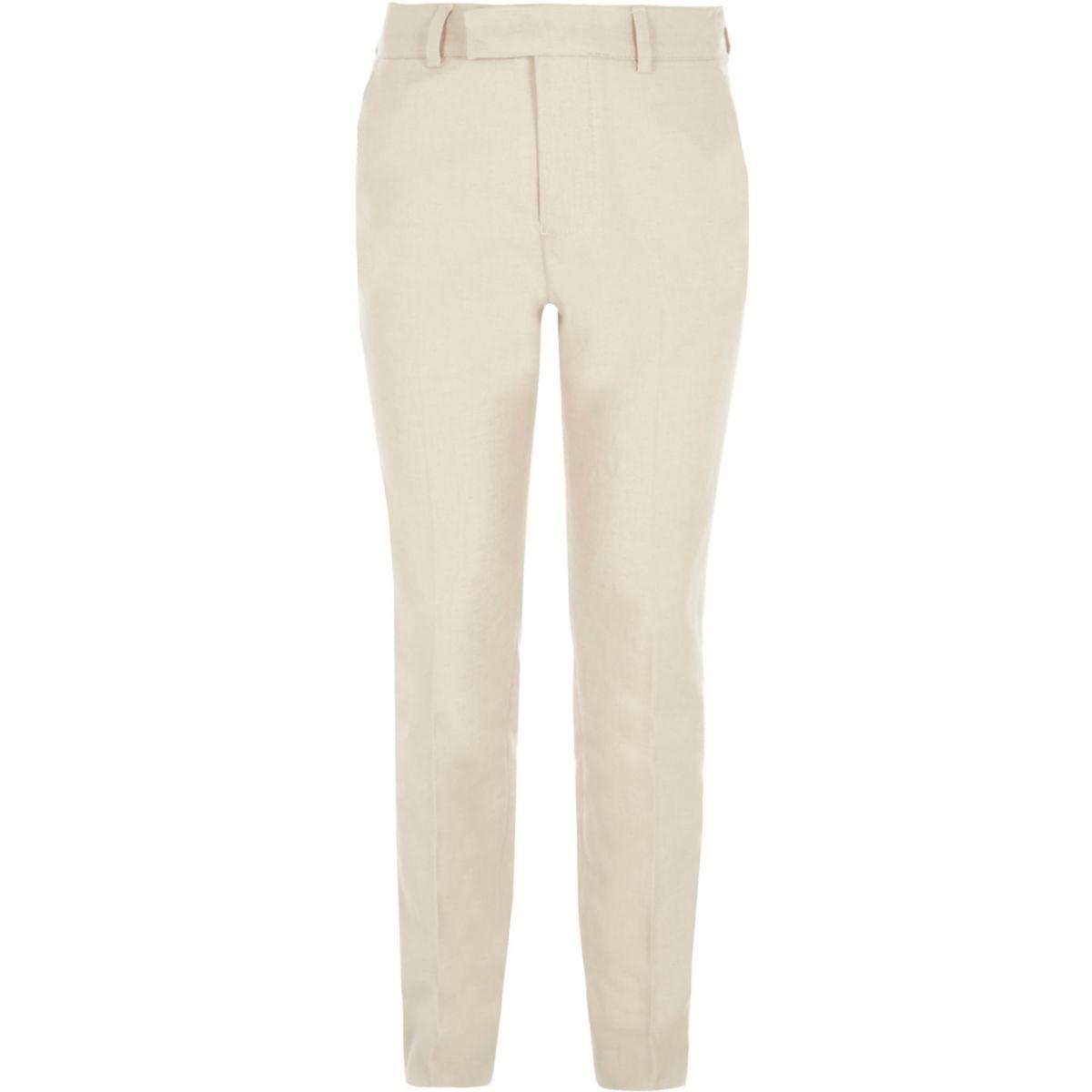 Pantalon de costume crème avec lin pour garçon