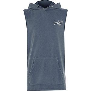 Blauwe mouwloze hoodie met 'New York'-print voor jongens